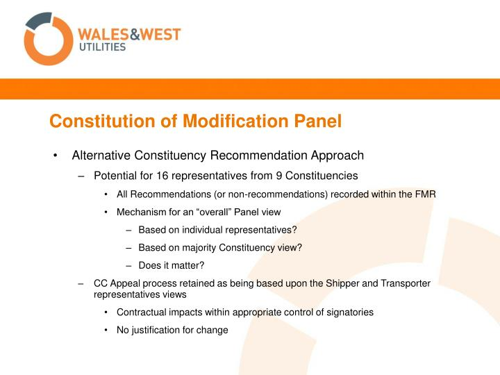 Constitution of Modification Panel