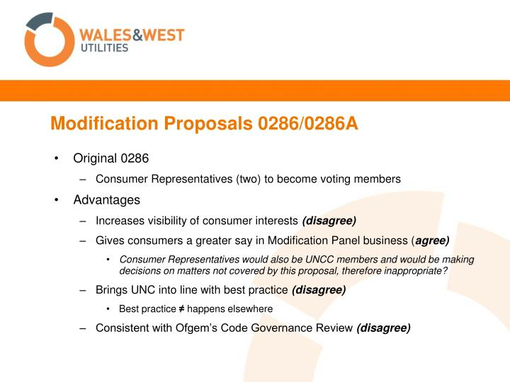 Modification Proposals 0286/0286A