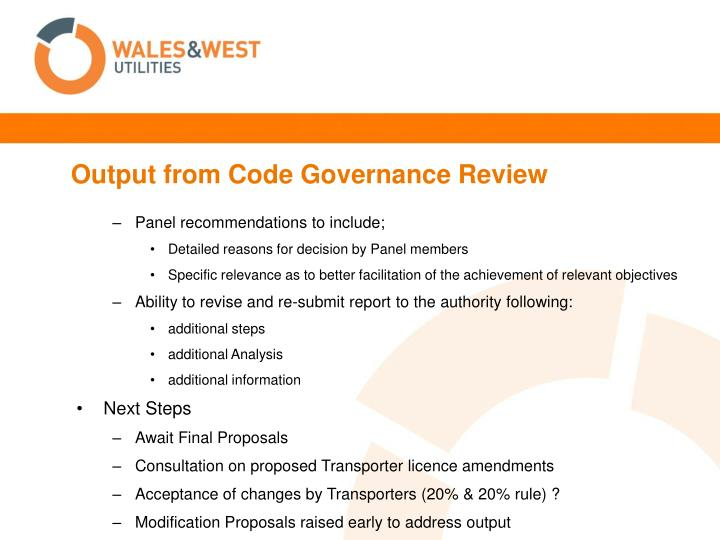 Output from Code Governance Review