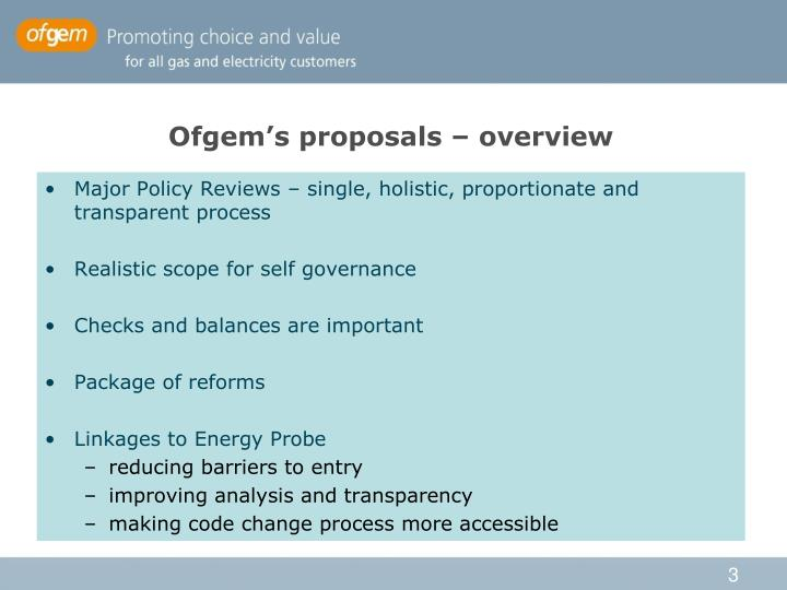 Ofgem's proposals – overview