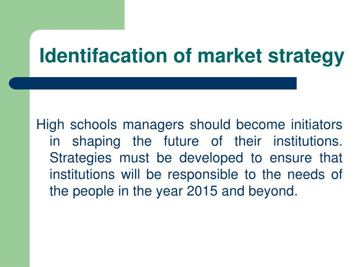 Identifacation of market strategy