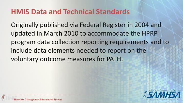HMIS Data and Technical Standards