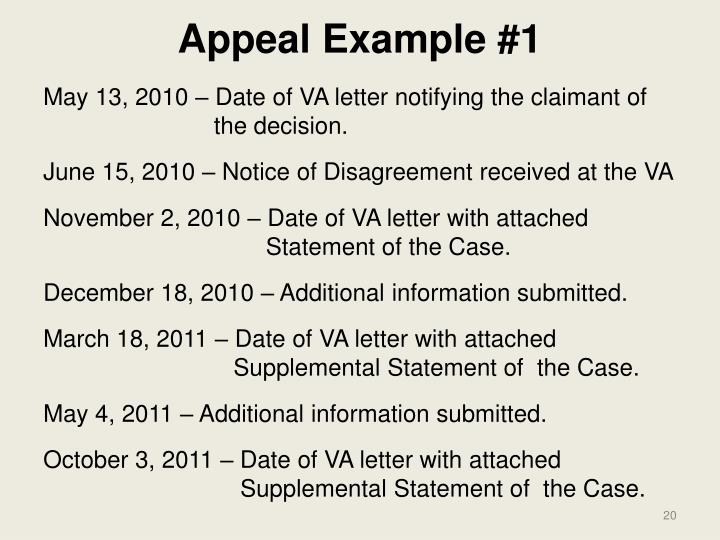 Appeal Example #1