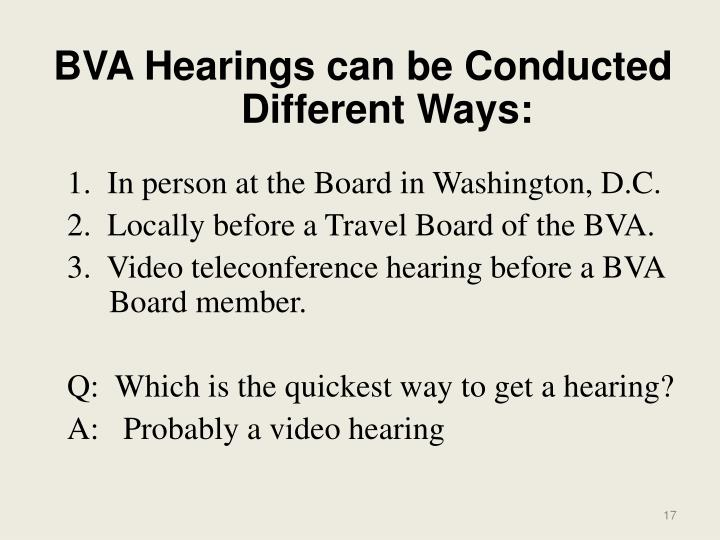 BVA Hearings can be Conducted Different Ways: