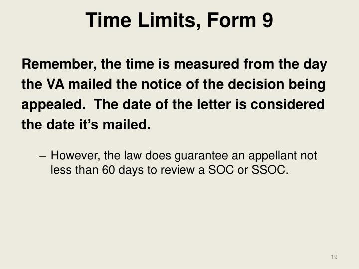 Time Limits, Form 9