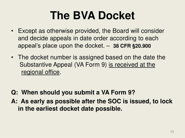 The BVA Docket