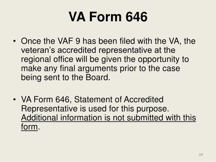 VA Form 646