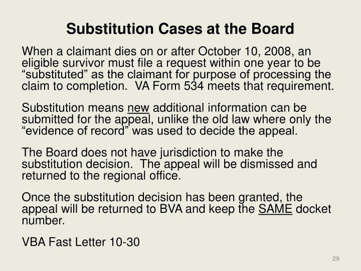 Substitution Cases at the Board