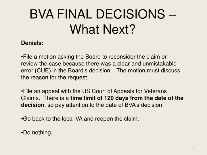 BVA FINAL DECISIONS – What Next?