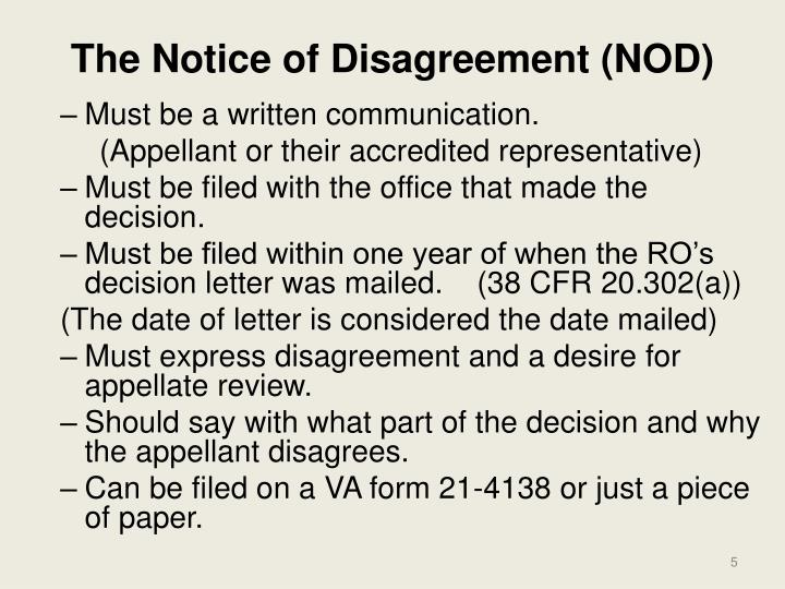 The Notice of Disagreement (NOD)