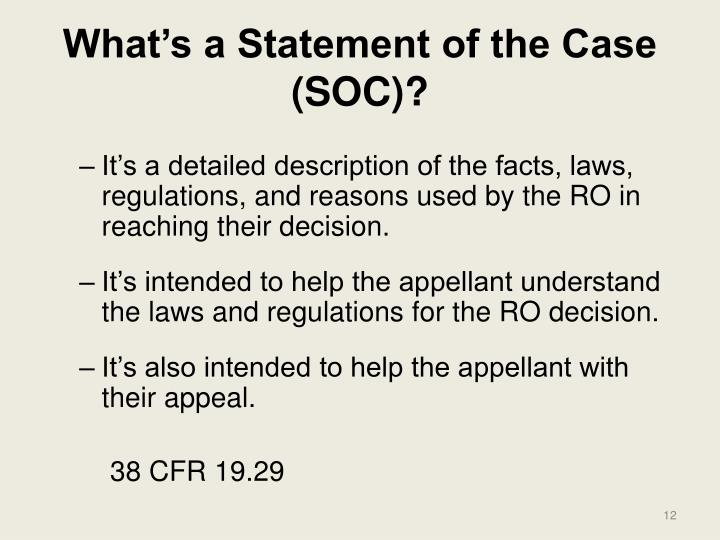 What's a Statement of the Case (SOC)?