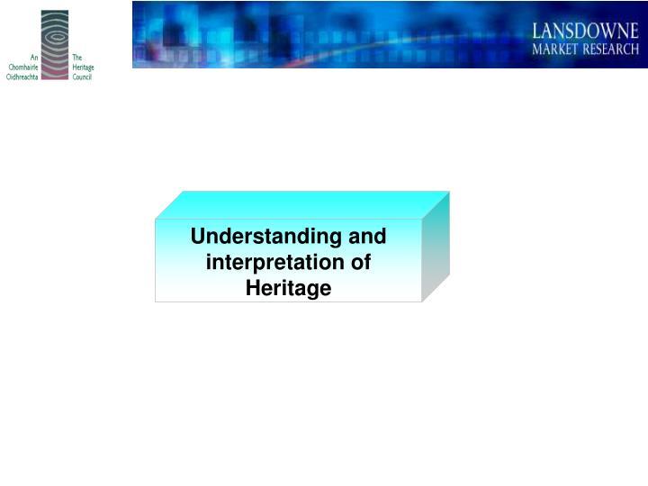 Understanding and  interpretation of              Heritage