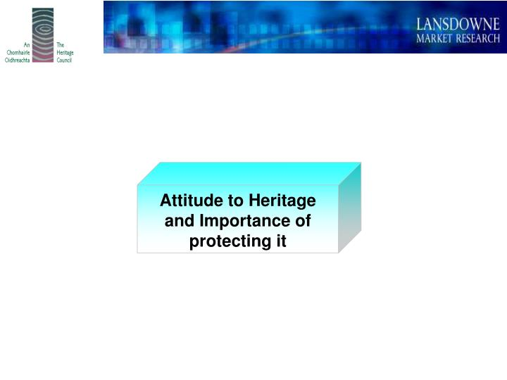 Attitude to Heritage and Importance of protecting it