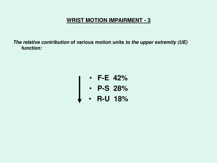WRIST MOTION IMPAIRMENT - 3