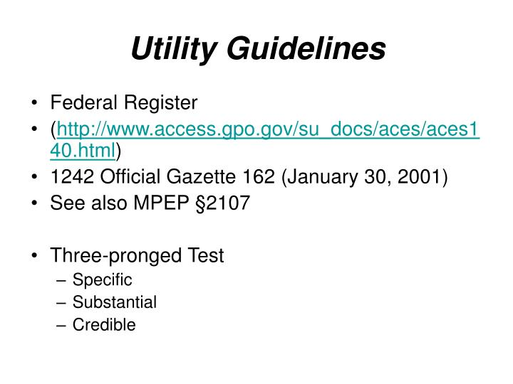 Utility Guidelines