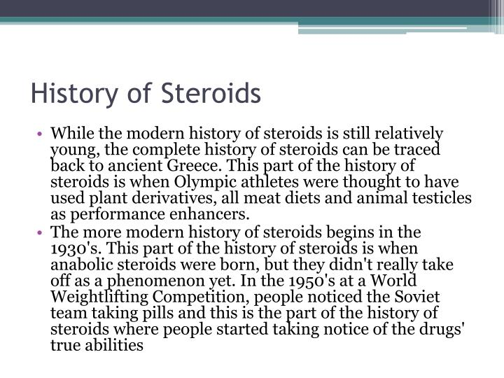 History of Steroids