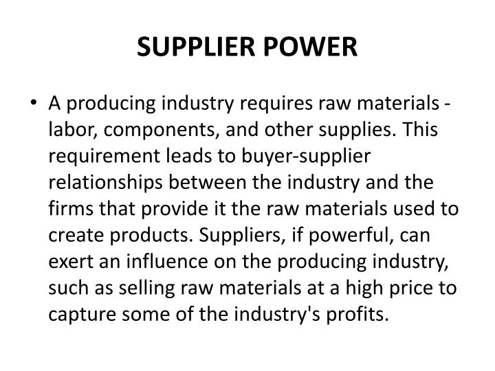 Supplier power1