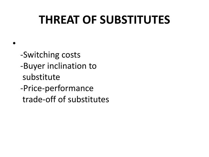 THREAT OF SUBSTITUTES