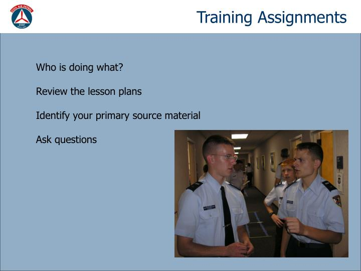 Training Assignments