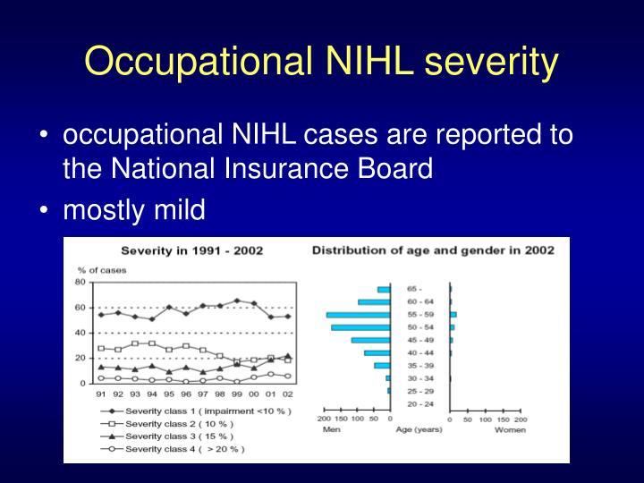 Occupational NIHL severity