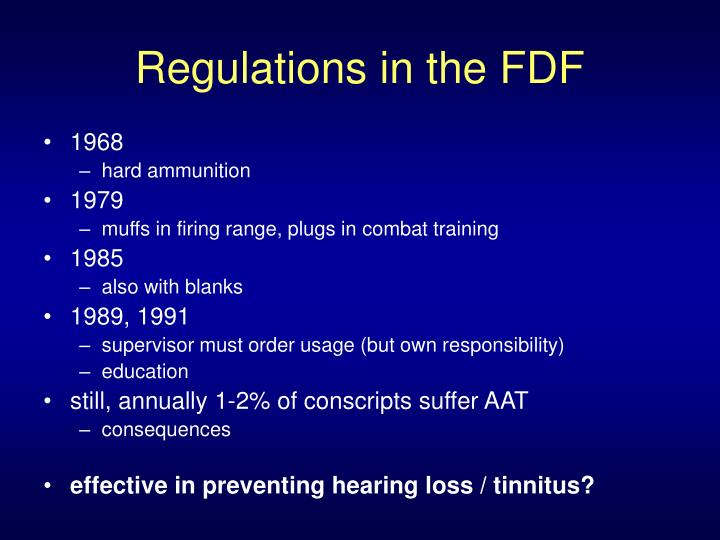 Regulations in the FDF