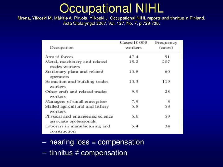 Occupational NIHL