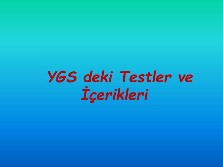 YGS deki Testler ve İçerikleri