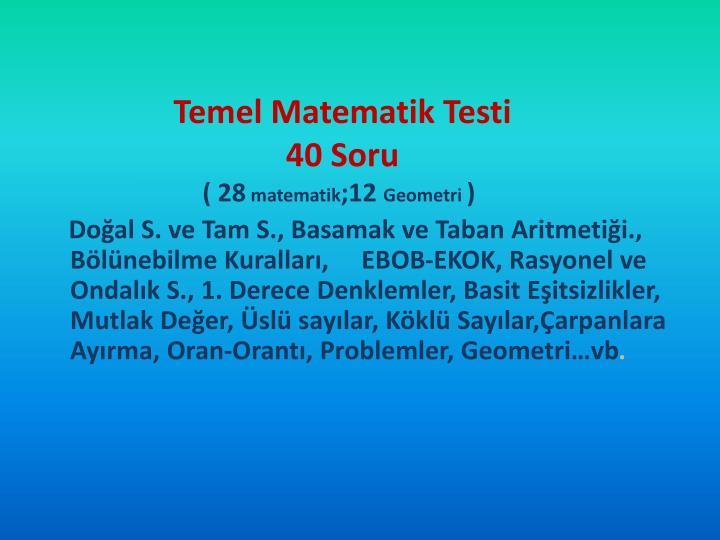Temel Matematik Testi