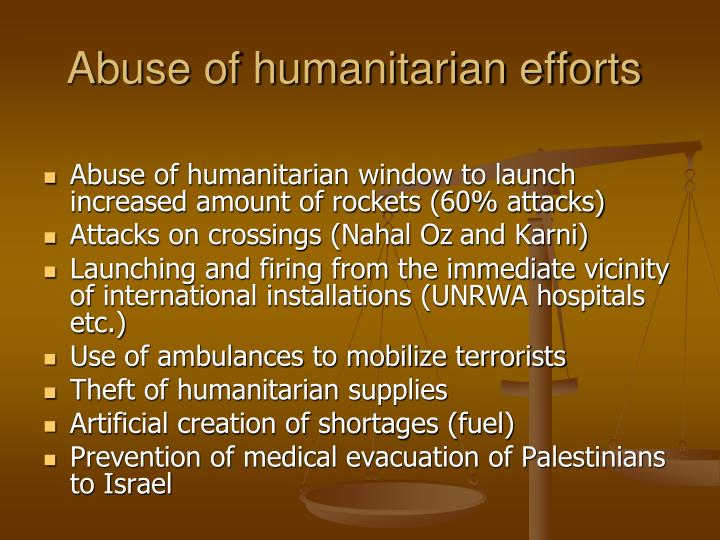 Abuse of humanitarian efforts