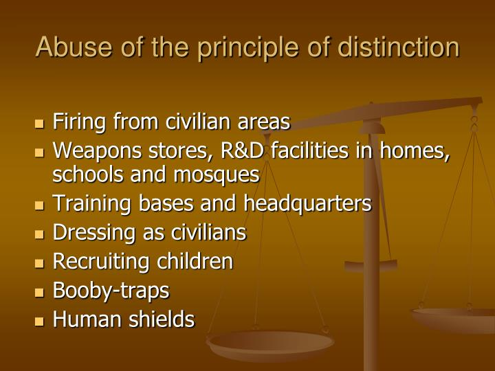 Abuse of the principle of distinction