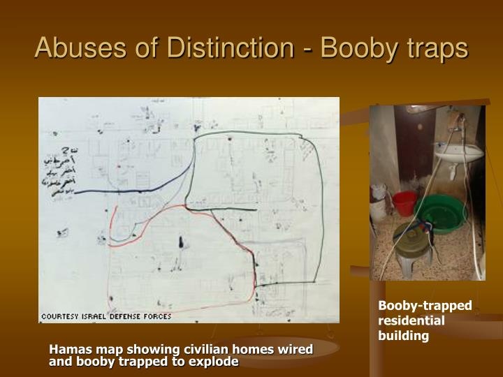 Hamas map showing civilian homes wired and booby trapped to explode