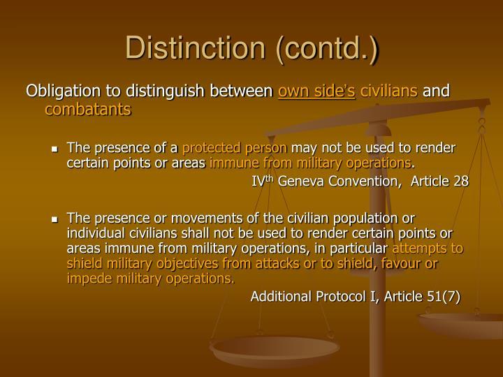 Distinction (contd.)