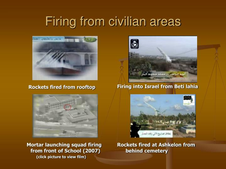 Firing from civilian areas
