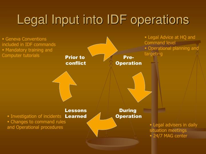 Legal Input into IDF operations
