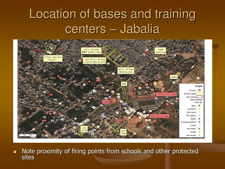 Location of bases and training centers – Jabalia