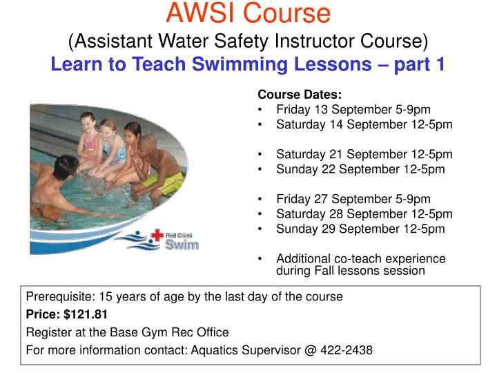 Awsi course assistant water safety instructor course learn to teach swimming lessons part 1