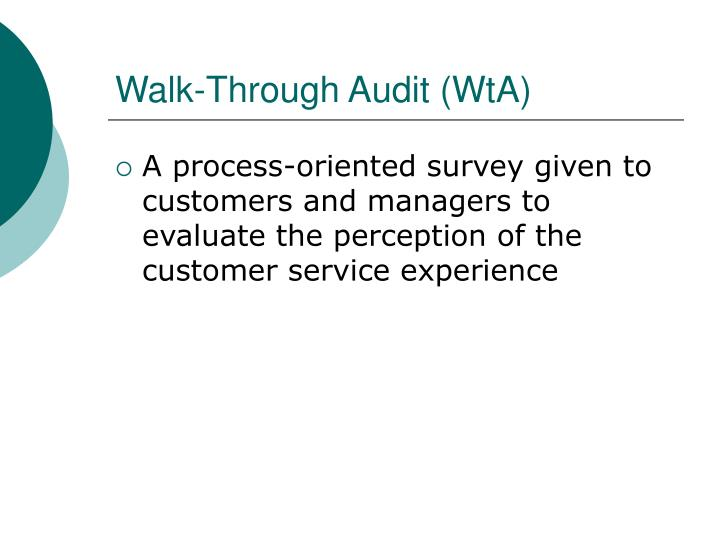 Walk-Through Audit (WtA)