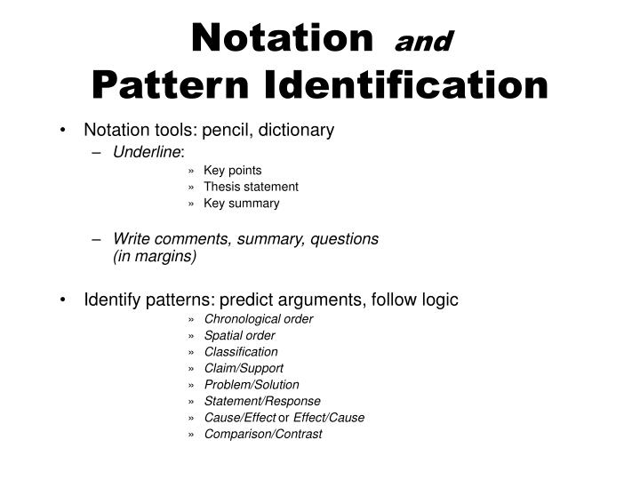 Notation and pattern identification