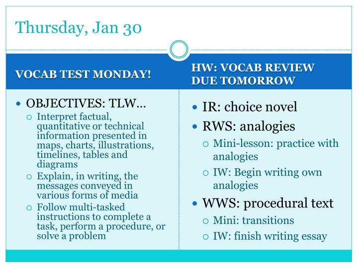 Thursday, Jan 30