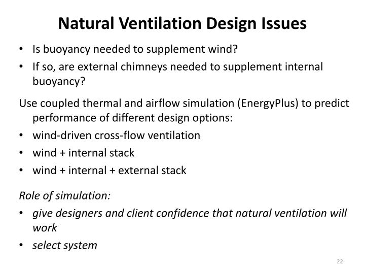 Natural Ventilation Design Issues