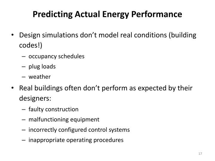 Predicting Actual Energy Performance