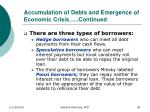 accumulation of debts and emergence of economic crisis continued