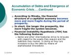 accumulation of debts and emergence of economic crisis continued1
