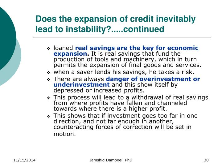 Does the expansion of credit inevitably lead to instability?.....continued