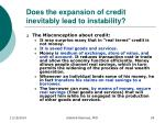 does the expansion of credit inevitably lead to instability