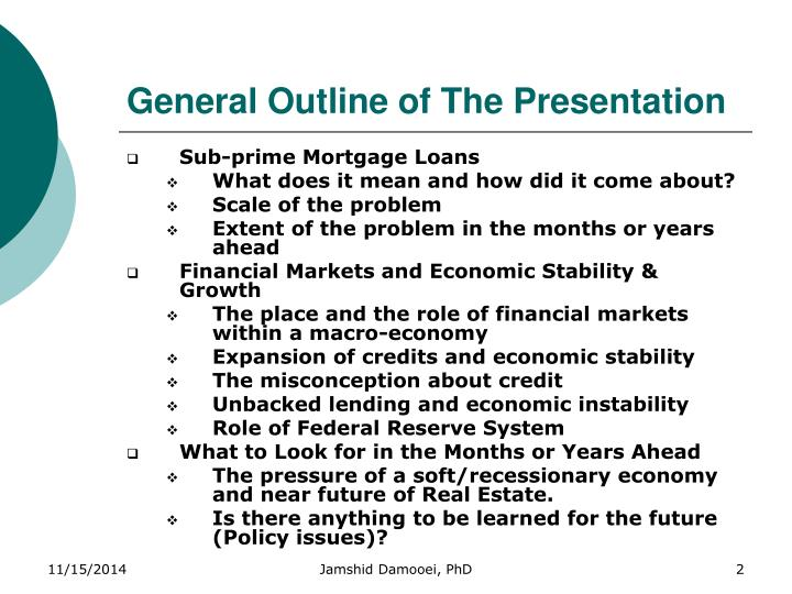 General outline of the presentation