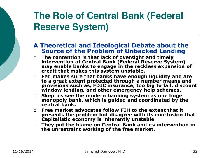 The Role of Central Bank (Federal Reserve System)