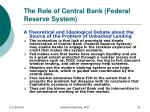 the role of central bank federal reserve system