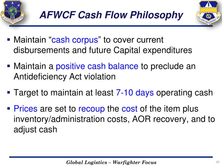 AFWCF Cash Flow Philosophy