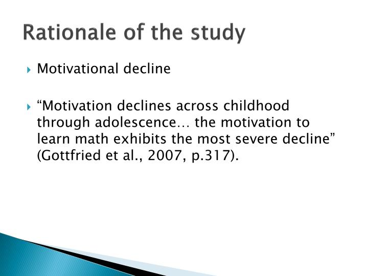 Rationale of the study